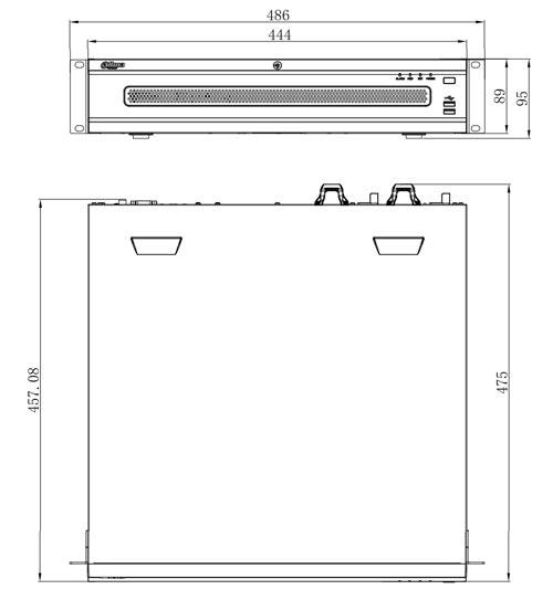DHI-NVR608R-128-4KS2 - Wymiary rejestratora sieciowego Dahua (mm).