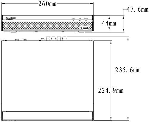DHI-XVR5116HS-X - wymiary rejestratora.