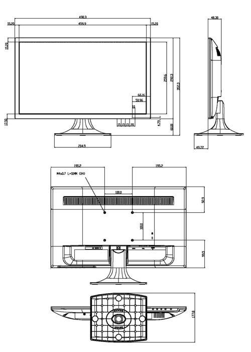 Wymiary monitora LCD Dahua podane w milimetrach i calach.