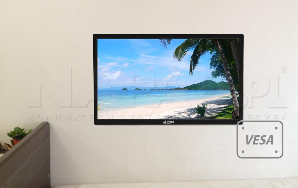 Monitor przystosowany do montażu z uchwytami w standardzie VESA.