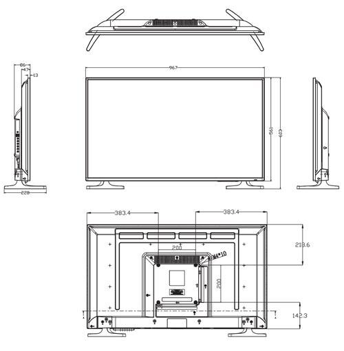 Wymiary monitora przemysłowego Dahua (mm).