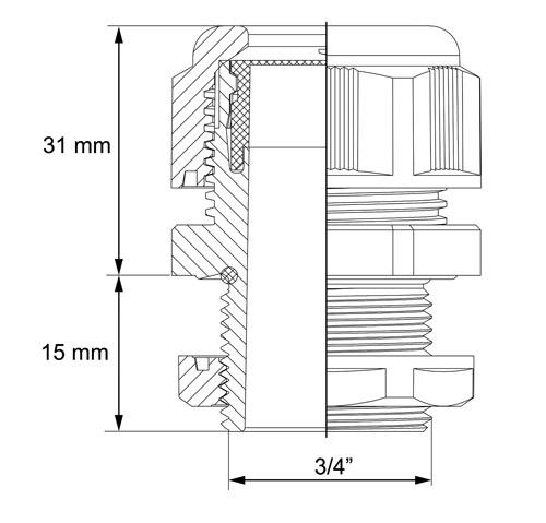 Wymiary dławnicy izolacyjnej podane w milimetrach.