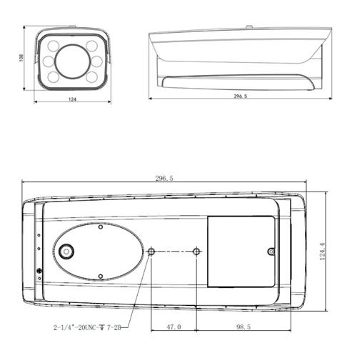 Wymiary kamery ANPR (mm).