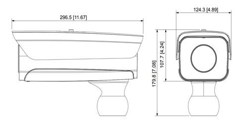 Wymiary kamery ITC ANPR Dahua podane w milimetrach i calach.