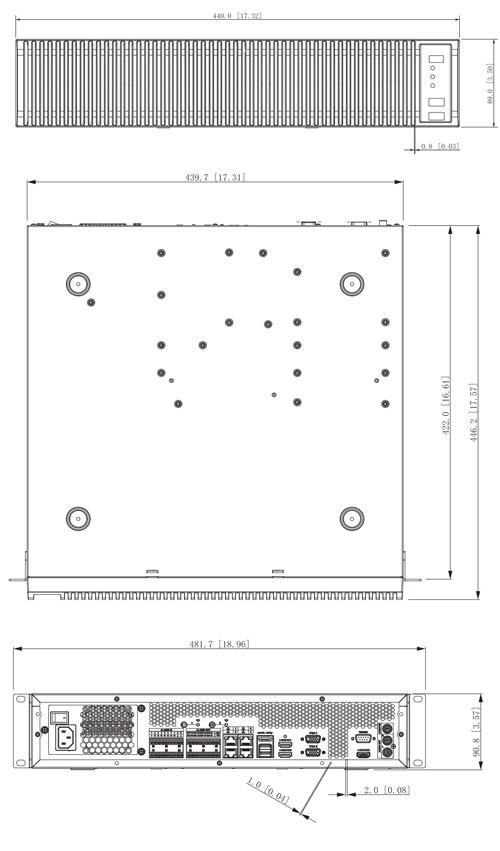 Wymiary serwera IVSS Dahua podane w milimetrach i calach.