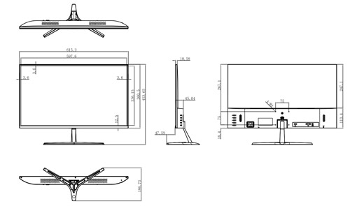 Wymiary monitora LED Dahua podane w milimetrach i calach.