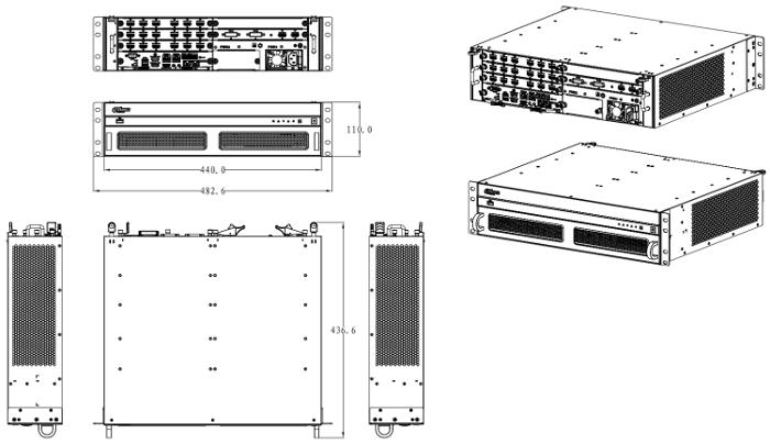 NVD1205DH-4I-4K - Wymiary dekodera TV-Wall.