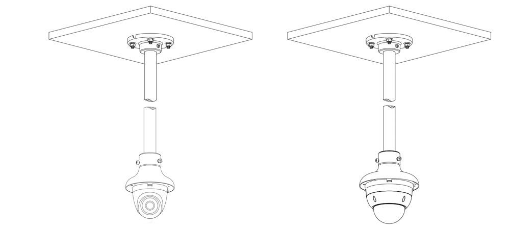 Przykład wykorzystania adaptera montażowego Dahua.