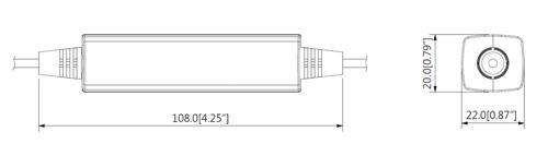 Wymiary separatora zasilania Dahua w mm [cale].