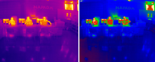 Przykład wykorzystania palety kolorów w kamerze termowizyjnej Dahua.