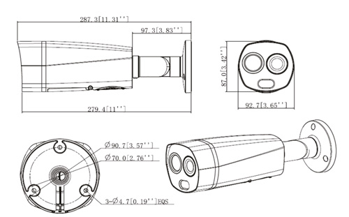 Wymiary kamery termowizyjnej do systemu HBTMS Lite (mm [cale]).
