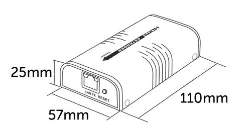 Konwerter HDMI na LAN - Wymiary w milimetrach.