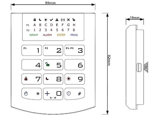 Wymiary klawiatury LED KP32-9