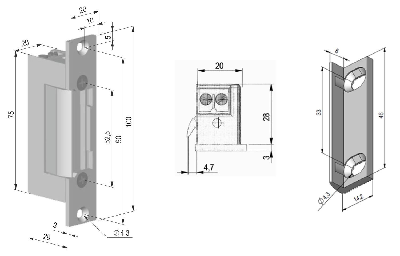 ES-S12AC/DC - Wymiary elektrozaczepu.