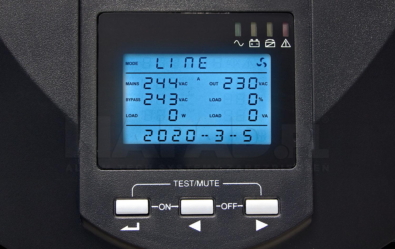 Wyświetlacz LCD w UPS 15000 VA EAST