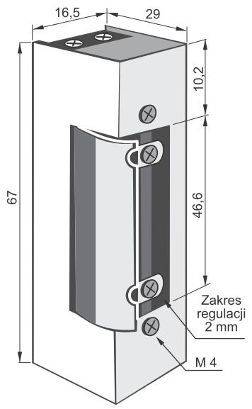 1400 RF NO - Wymiary elektrozaczepów z serii.