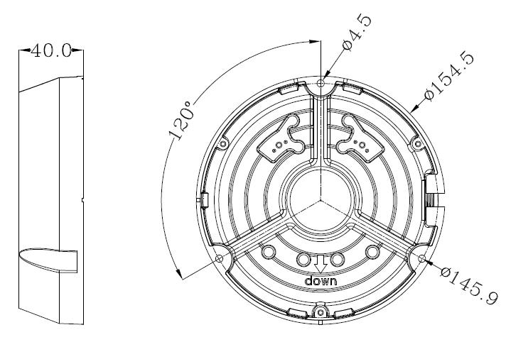JB-205 - Wymiary uchwytu podane w mm.