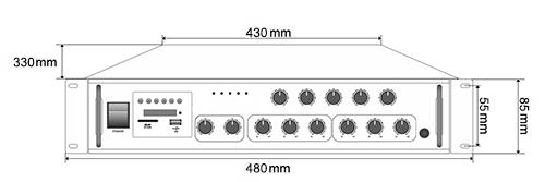 Wymiary wzmacniacza HQM-1060BT.