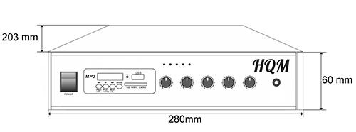 Wymiary wzmacniacza HQM-1060E.
