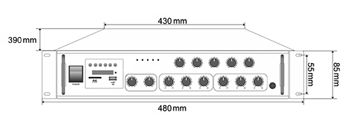 Wymiary wzmacniacza HQM-1550BT.