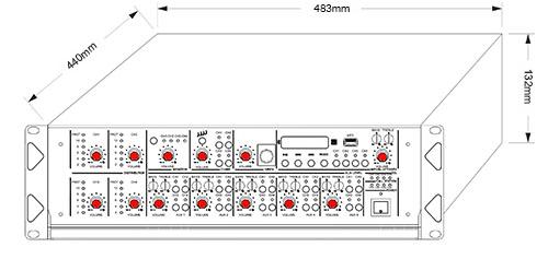 Wymiary wzmacniacza HQM-4120.