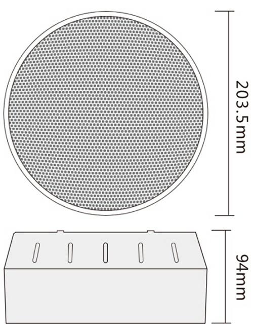 Wymiary głośnika sufitowego.