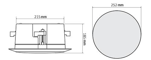 Wymiary głośnika HQM-SOZ1002AB/HQM-SOZ1002A.