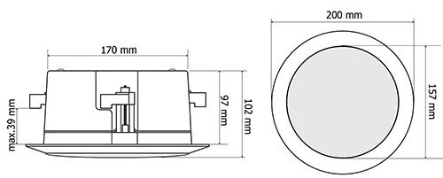 Wymiary głośnika sufitowego HQM-SOZ1625.