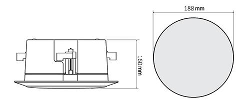 Wymiary głośników HQM-SOZ302AB i HQM-SOZ602A.