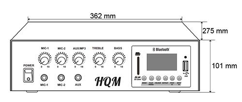 HQM100-RF - Wymiary wzmacniacza.