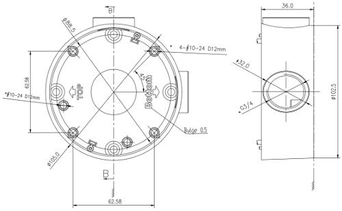 DS-1260ZJ - Wymiary podstawy montażowej.