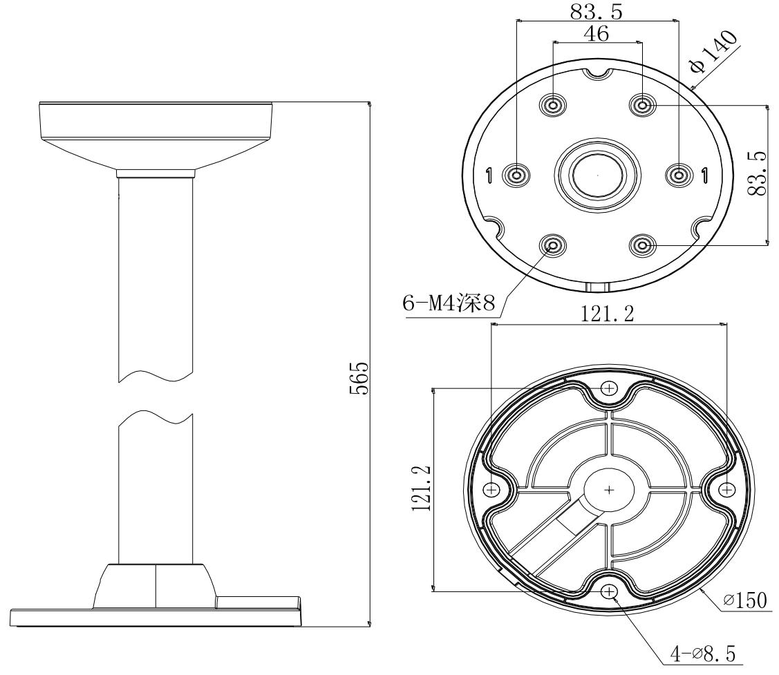 DS-1271ZJ-140 - Wymiary uchwytu sufitowego.