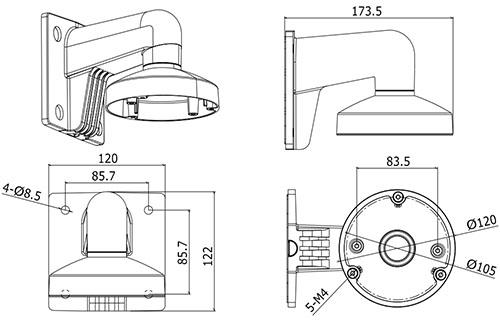 DS1272ZJ-120 - Wymiary uchwytu.