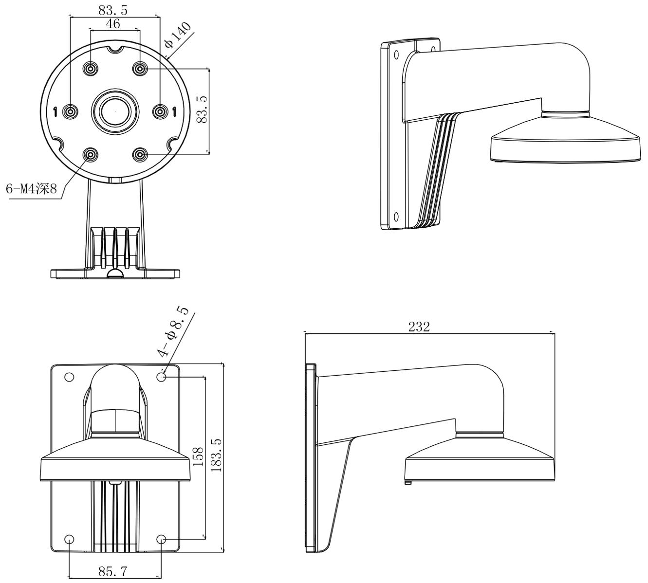 DS-1273ZJ-140 - Wymiary uchwytu podane w mm.
