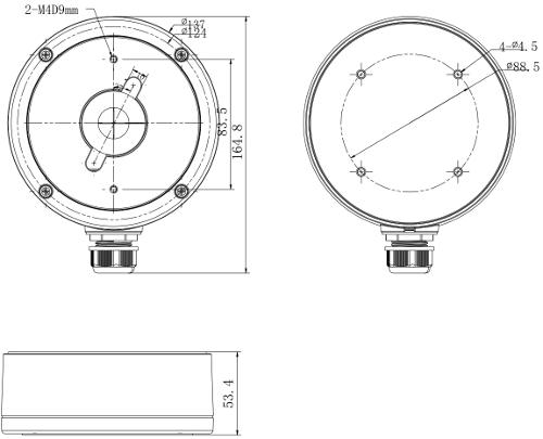 DS-1280ZJ-DM22 - Wymiary podane w mm.