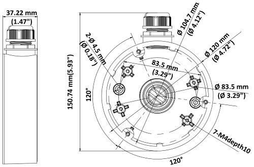 DS-1280ZJ-DM46 - Wymiary podane w mm.