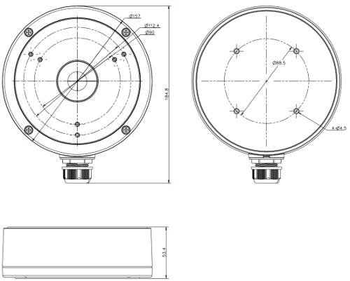 DS-1280ZJ-M - Wymiary uchwytu podane w mm.