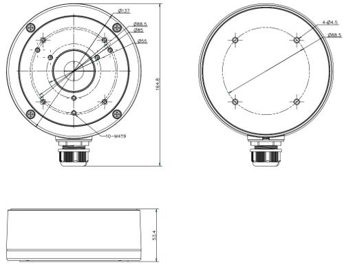 DS-1280ZJ-S - Wymiary uchwytu podane w mm.