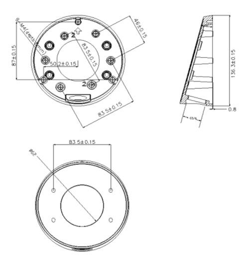 DS-1281ZJ-DM23 - Wymiary podstawy montażowej.