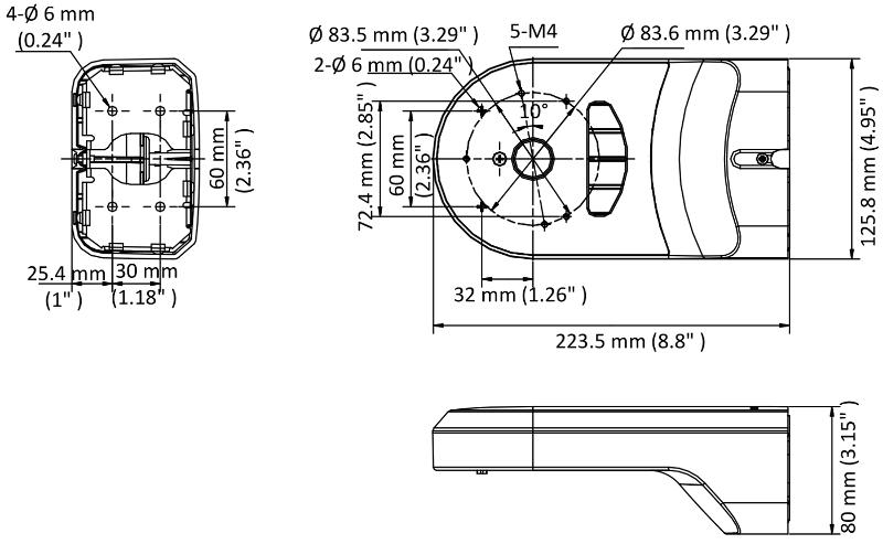 DS-1294ZJ-PT - Wymiary uchwytu do kamer Hikvision mini PTZ.