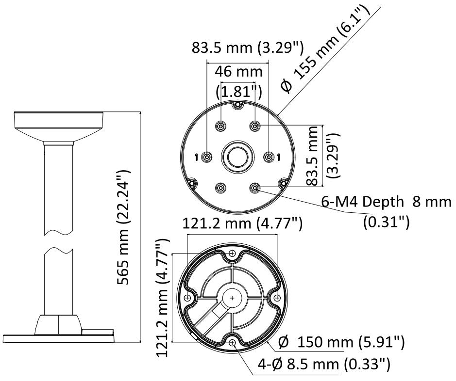DS-1471ZJ-155 - Wymiary uchwytu sufitowego.