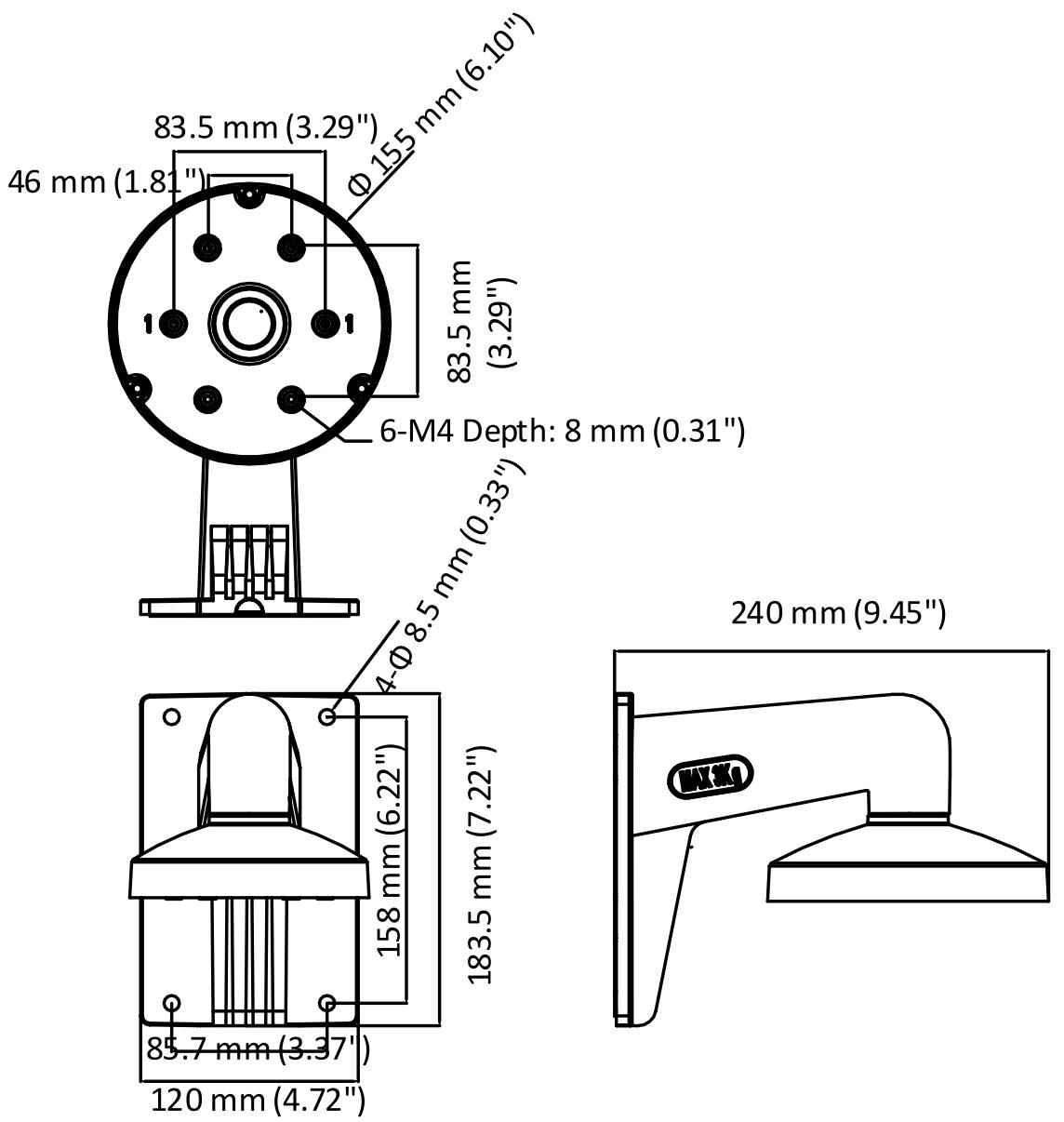 DS-1473ZJ-155 - Wymiary uchwytu podane w mm.