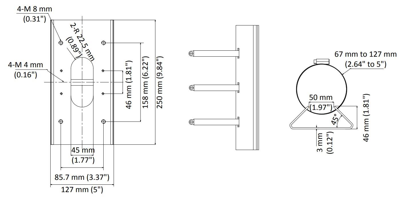 DS-1475ZJ-SUS - Wymiary podstawy montażowej.