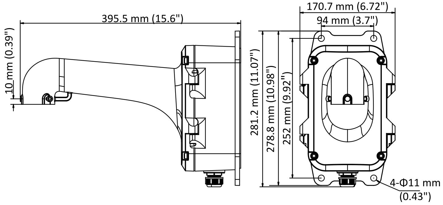 Wymiary uchwytu naściennego z puszką - Hikvision DS-1604ZJ-BOX.