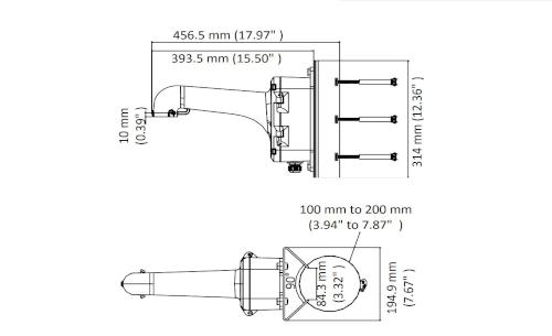 DS-1604ZJ-box-pole - Wymiary uchwytu.