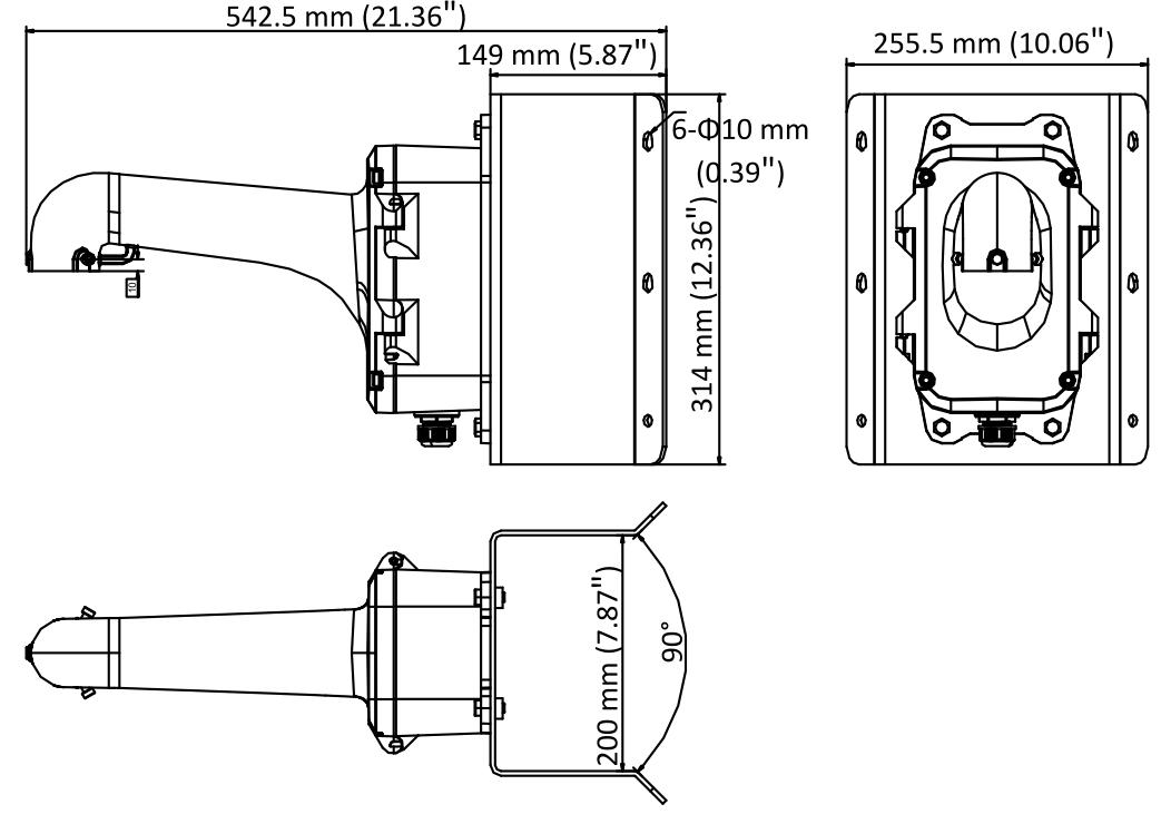 Wymiary uchwytu Hikvision DS-1604ZJ-box-corner.