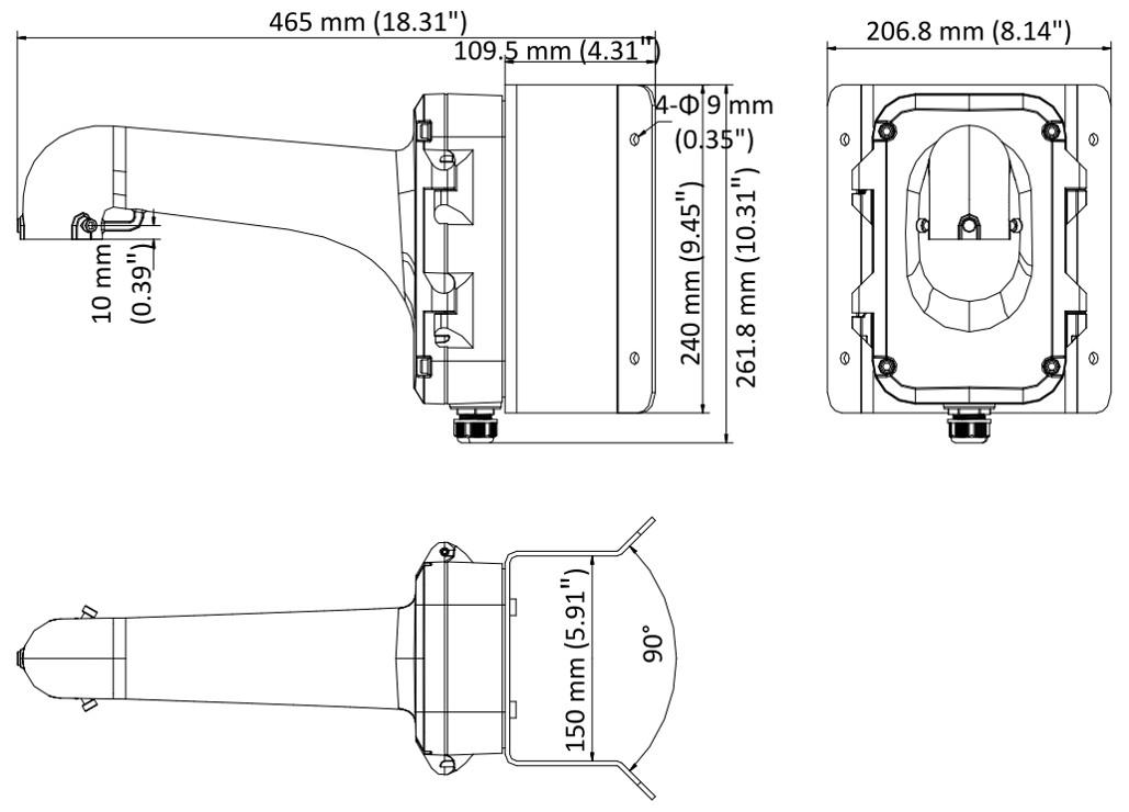 Wymiary uchwytu Hikvision DS-1604ZJ-corner.