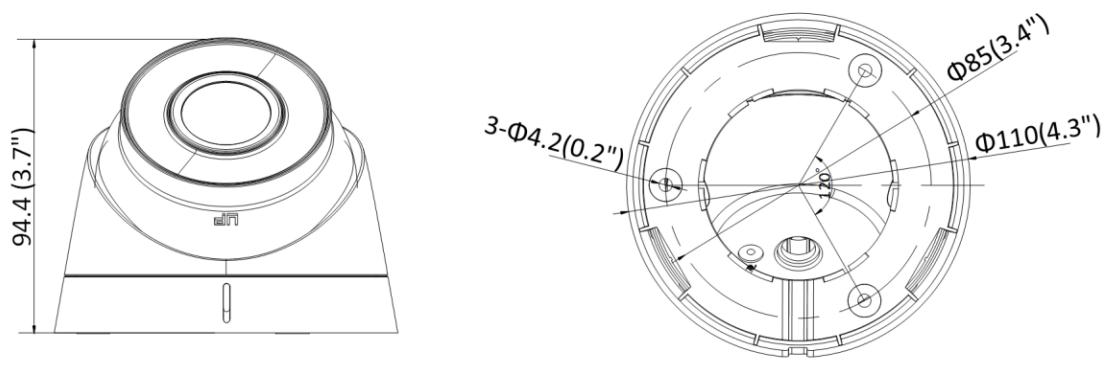 Wymiary kamery IP Hikvision.