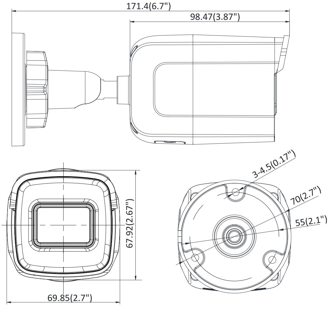 Wymiary kamery IP bullet Hikvision.