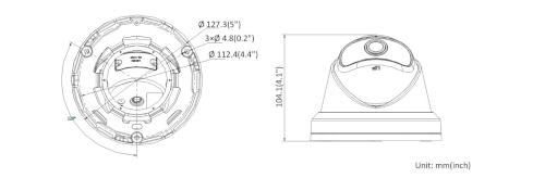 DS-2CD2345G0P-I - Wymiary kamery IP.